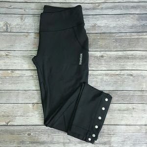 Reebok Black Tight Fit Leggings Ankle Snap